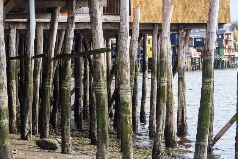 Palafitos w Castro, Chiloe wyspa w Chile zdjęcie stock