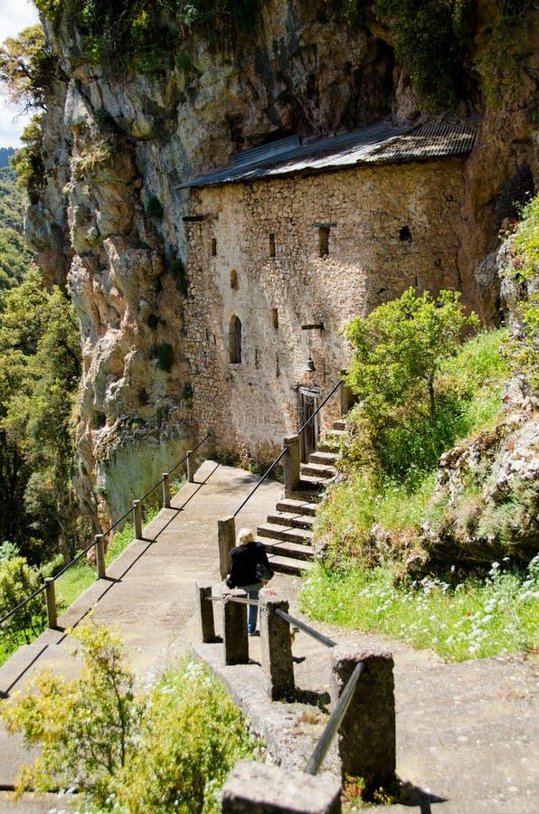 Palaiomonastiro -贴水帕帕佐普洛斯1550历史修道院 库存图片