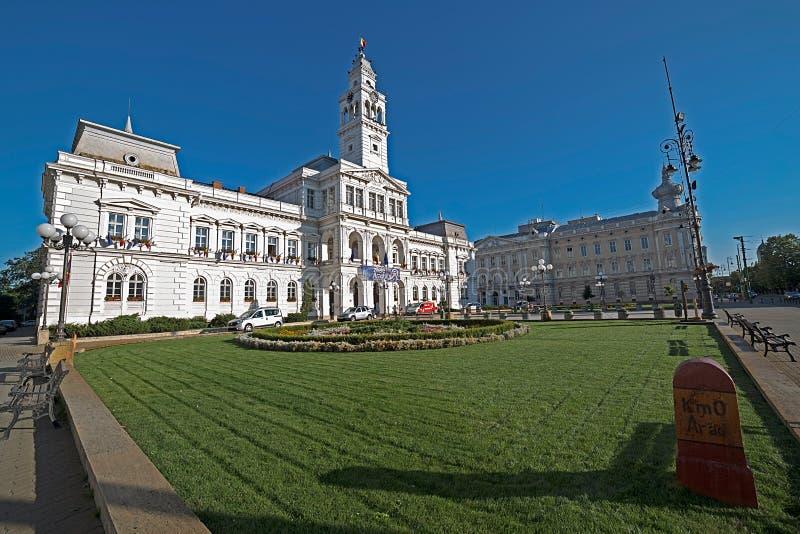 Palais administratif d'Arad, Roumanie Hôtel de ville images stock