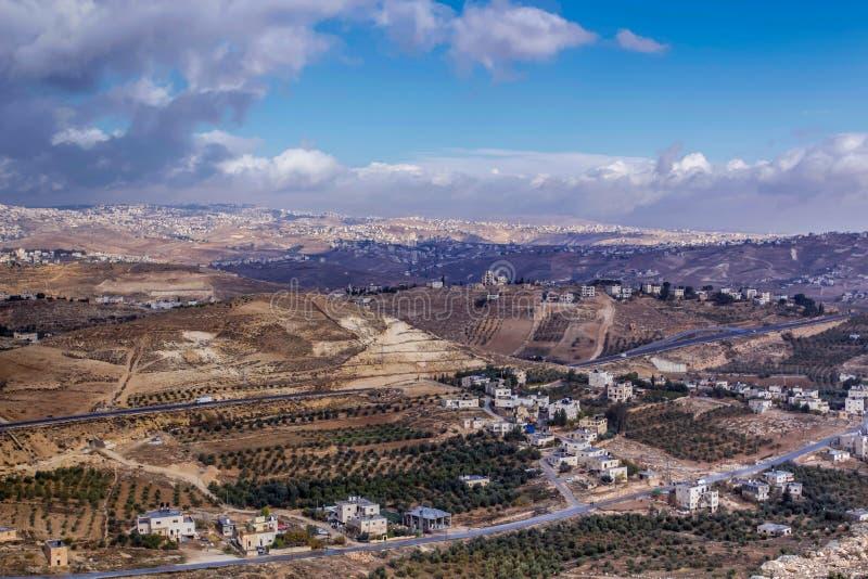 Palais archéologique de Herodes de site de Herodium dans le désert de Judean photographie stock