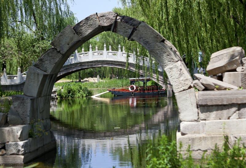 Palais d'été de yuan de Yuanming de passerelle de Canqiao Pékin images libres de droits