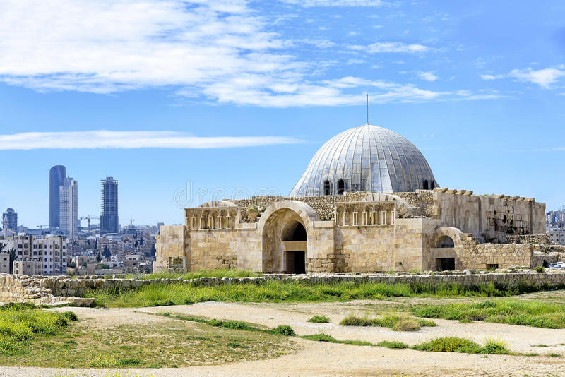 Palais d'Umayyad à la citadelle à Amman, Jordanie photos stock