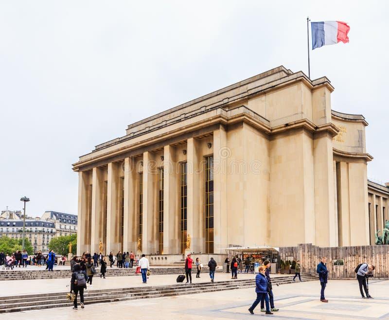 Palais de Chaillot在巴黎 库存照片