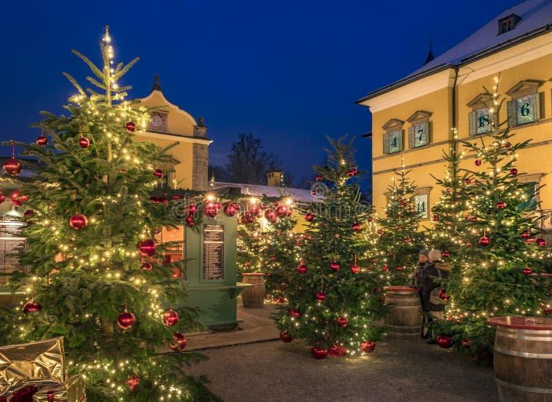 Palais de Hellbrunn du marché de Noël, Salzbourg, Autriche images stock