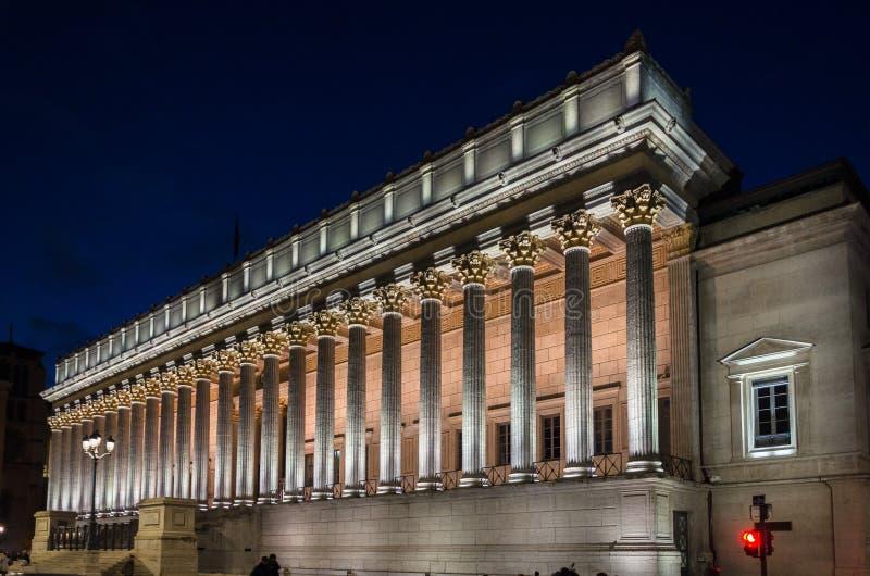 Palais de justice alla notte, Lione, Francia immagine stock libera da diritti
