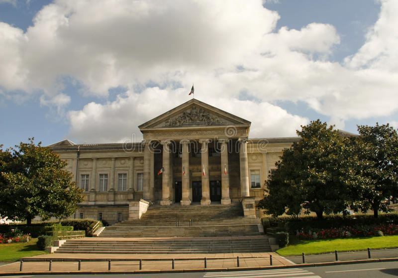 Palais de Justice Angers France. Front elevation of the Palais de Justice in Angers France royalty free stock photos
