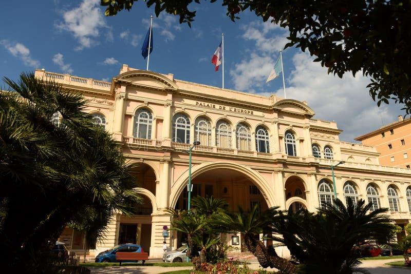 Palais de l'Europe i Menton, teater och konserthall i Menton Frankrike arkivbild
