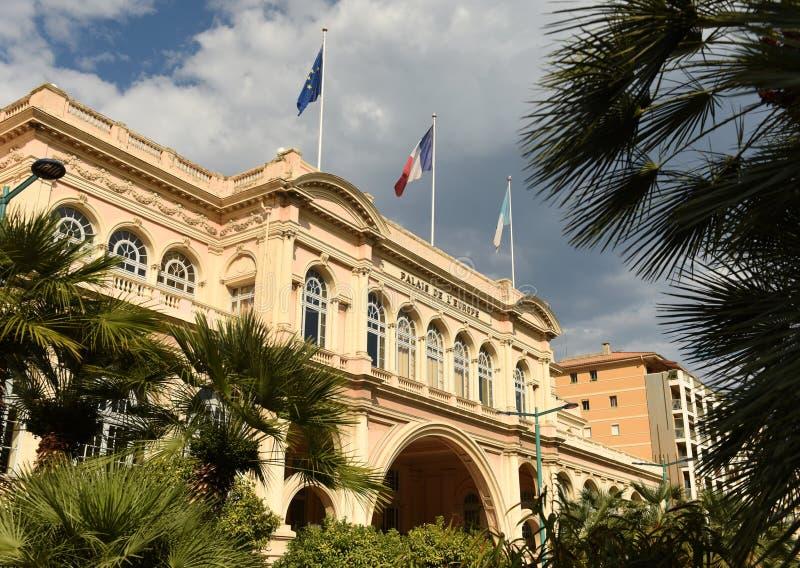 Palais de l'Europe i Menton, teater och konserthall i Menton Frankrike royaltyfri fotografi