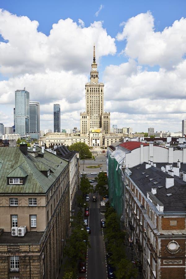 Palais de la Science et de culture à Varsovie par jour images libres de droits