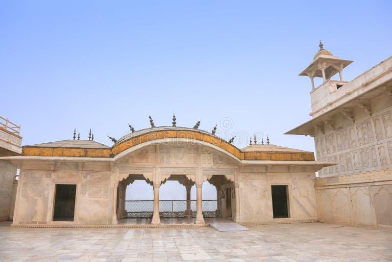 Palais de marbre blanc, fort d'Âgrâ, Inde image libre de droits