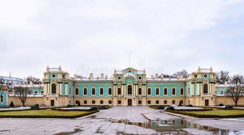 Palais de Mariinsky construisant la résidence cérémonieuse de président dans Kyiv, Ukraine Bâtiment d'architecture de Barocco image stock