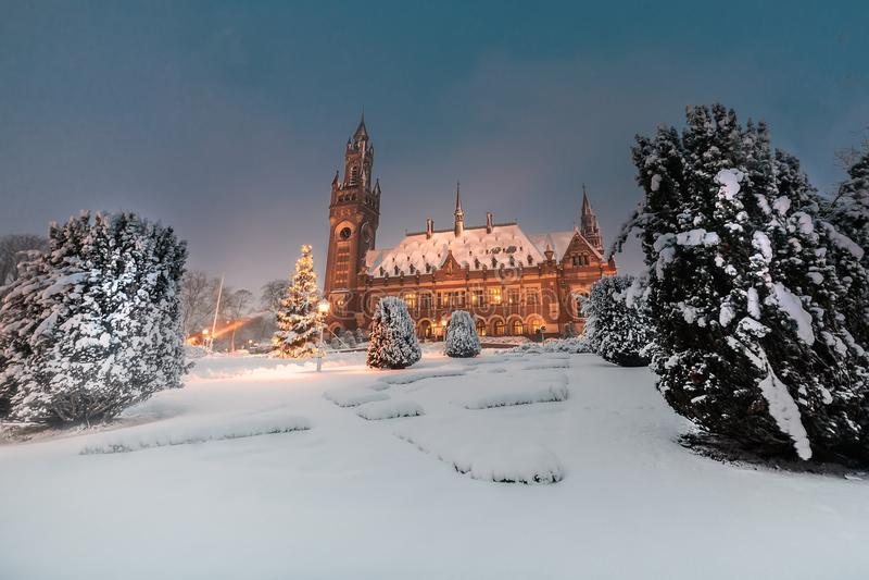 Palais de paix, Vredespaleis, sous la nuit de quart de neige photo stock