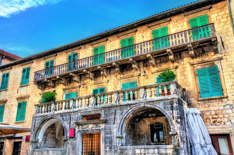 Palais de Pima dans la vieille ville de Kotor, Monténégro image libre de droits