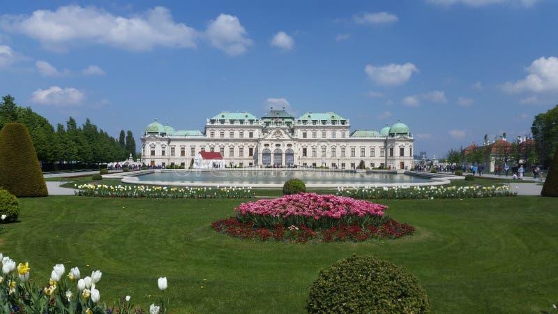 Palais de Vienne derrière l'eau en baisse images stock