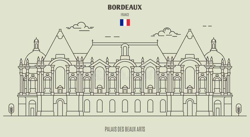 Palais des Beaux-Arts in Lille, Frankrijk Oriëntatiepuntpictogram vector illustratie