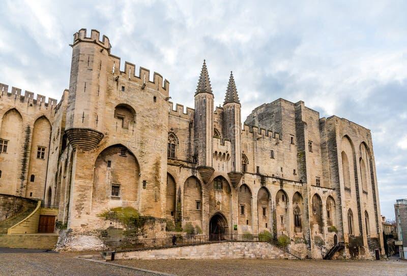 Palais des Papes in Avignon, een Unesco-erfenisplaats, Frankrijk stock foto's