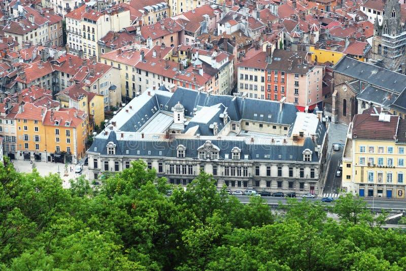 Palais du parlement du Dauphine in Grenoble, van de Bastilla-berg, Frankrijk wordt gezien dat royalty-vrije stock foto's