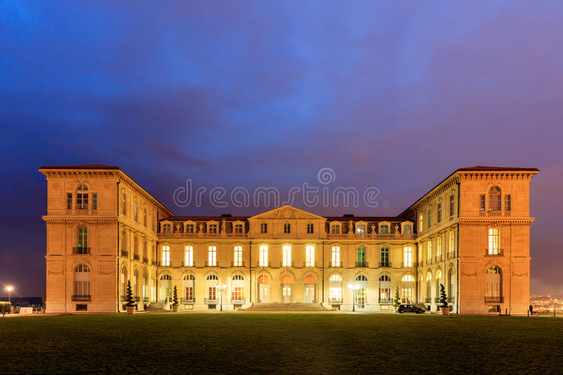 Palais du Pharo in Marseille by night royalty free stock image