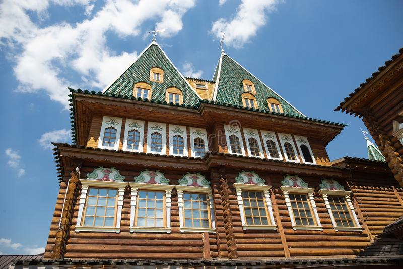 Palais en bois de tsar Alexei I Mikhailovich dans Kolomenskoye, MOS photographie stock libre de droits