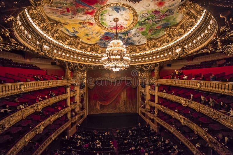 Palais Garnier, opera av Paris, inre och detaljer arkivbild