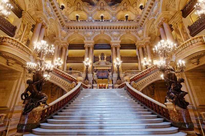 Palais Garnier, opera av Paris, inre och detaljer royaltyfria foton