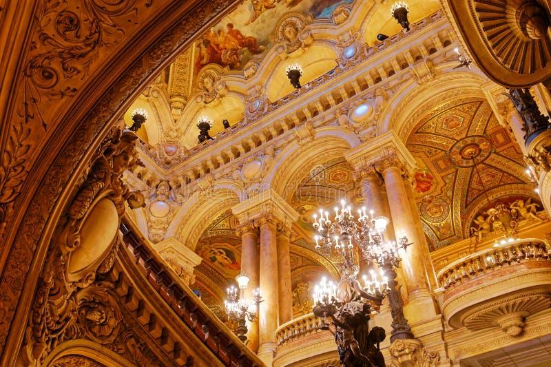 Palais Garnier, opera av Paris, inre och detaljer arkivfoto