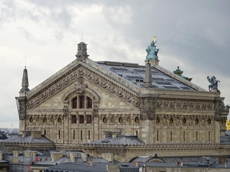 The Palais Garnier - Opera House - Rooftops of Paris stock photography