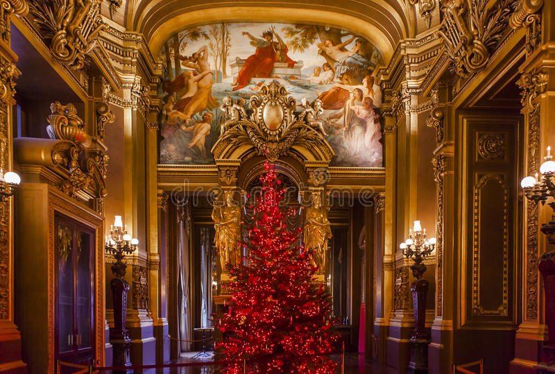 Palais Garnier, operan de Paris, inre och detaljerna arkivfoton