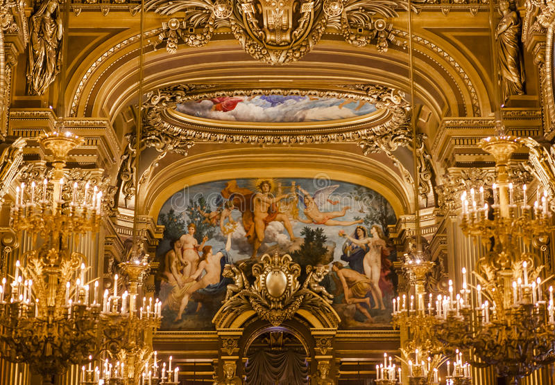 Palais Garnier, operan de Paris, inre och detaljerna royaltyfri fotografi