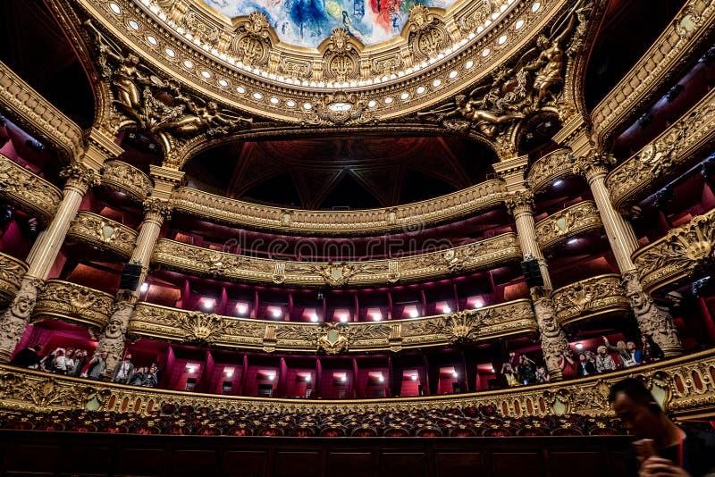 Palais Garnier - Paris-Opern-haus- Auditoriumsinnenausstattung lizenzfreie stockbilder