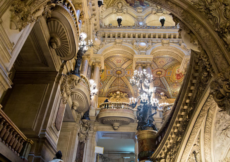 Palais Garnierbinnenland stock afbeeldingen