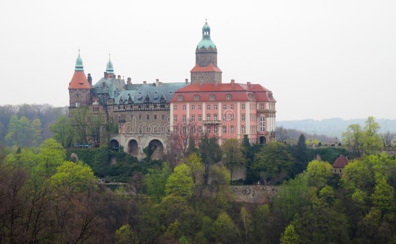 Palais Ksiaz (Furstenstein) - retranchez-vous dans Walbrzych en Voïvodie de Basse-Silésie, Pologne image libre de droits