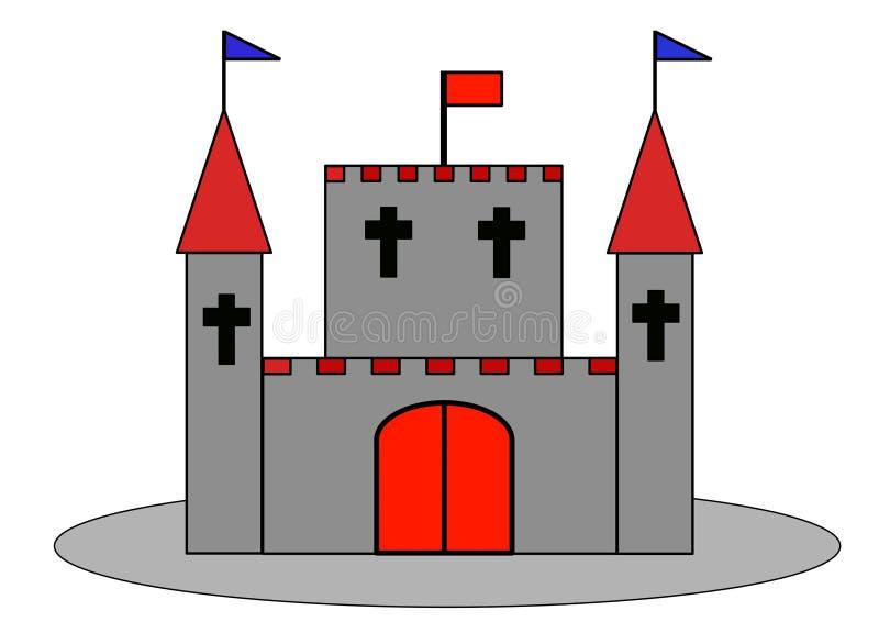 Palais ou château avec la bastion et le drapeau photographie stock