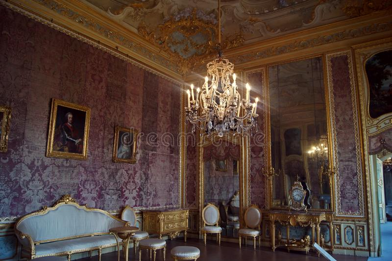 Palais royal Stupinigi, pièce de l'Italie, Turin de petit déjeuner photo stock