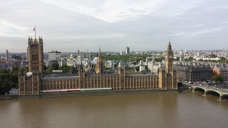 palais Westminster Vue de ma grue à tour images libres de droits