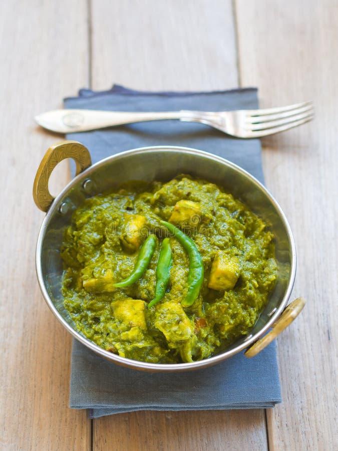 Palak paneer (Indische keuken) stock foto's