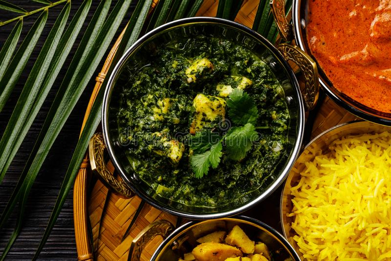 Palak Paneer indisk mat med ost och spenat royaltyfri fotografi