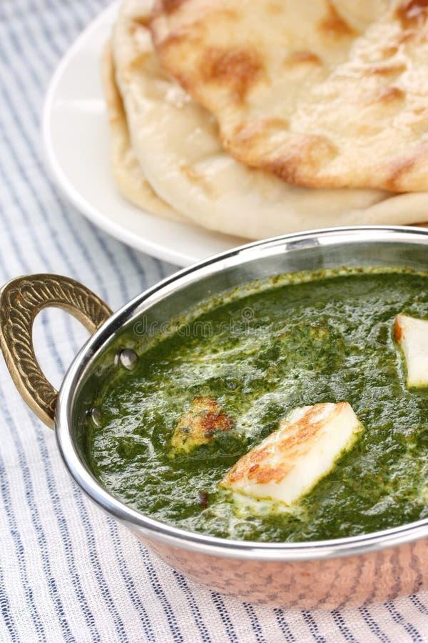 Palak paneer, spinazie en kaaskerrie, Indisch F royalty-vrije stock foto's