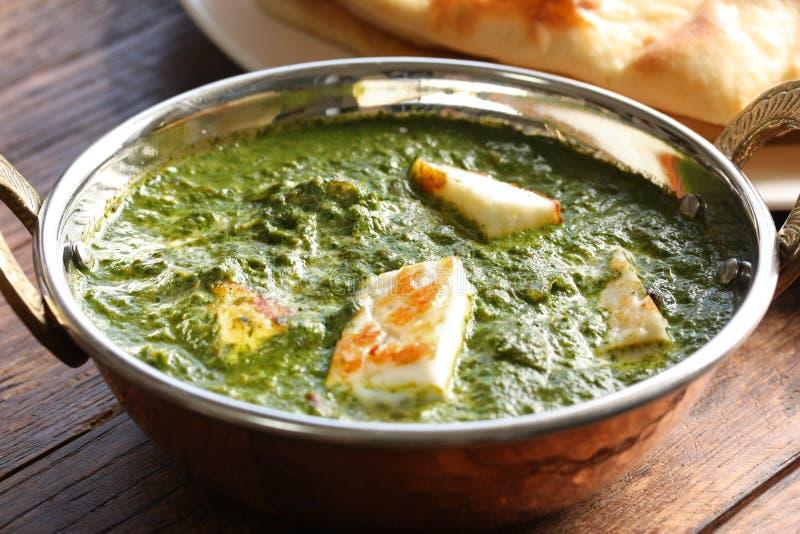 Palak paneer, spinazie en kaaskerrie, Indisch F stock foto