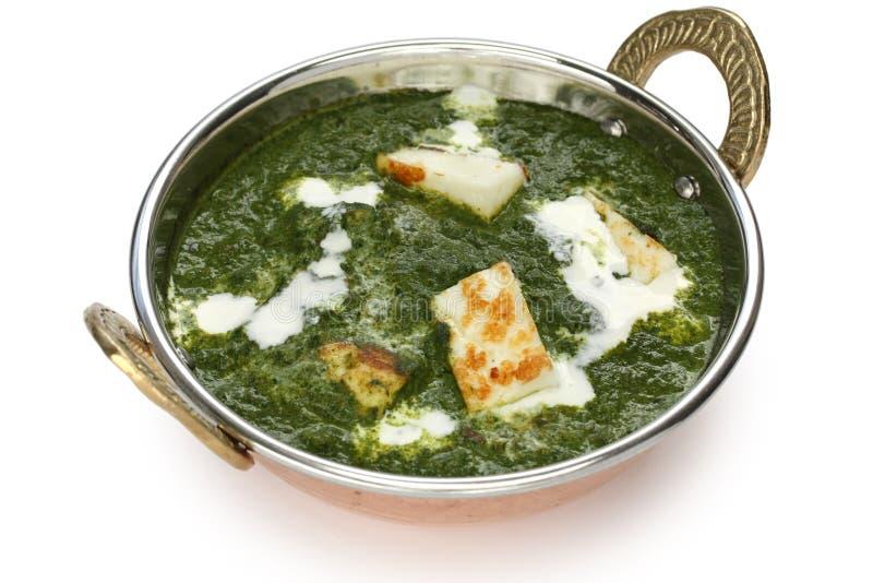 Palak paneer, spinazie en kaaskerrie, Indisch F stock foto's