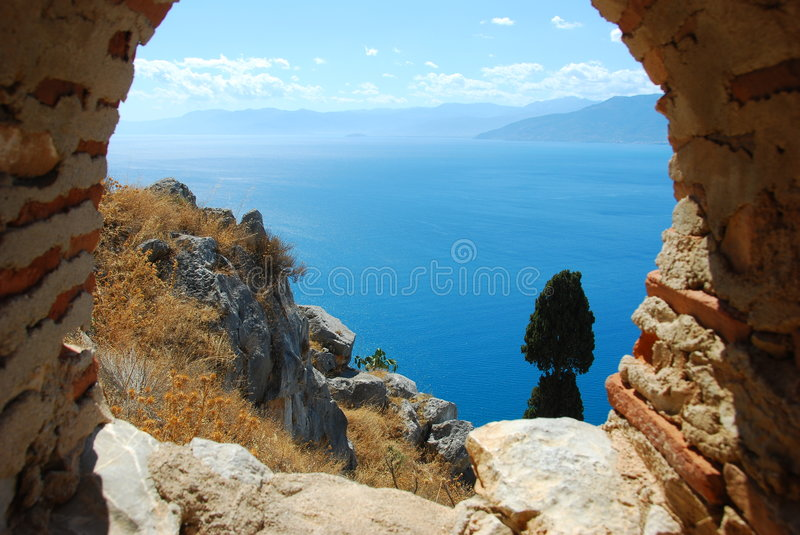 Palamidi fortress, nafplio, greece. View of the coastal line from the fortress of nafplio, greece. this fortress was build by venitians beginning of 18th century royalty free stock photography