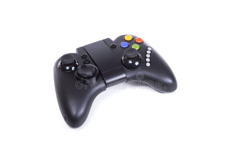 Palanca de mando negra del juego aislada en blanco imagenes de archivo