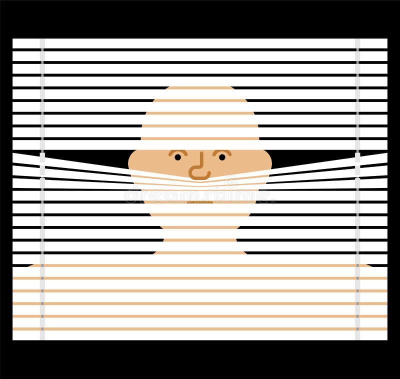 Palanca a través de la persiana observación a través de persianas Enfermedad de espionaje del vector ilustración del vector