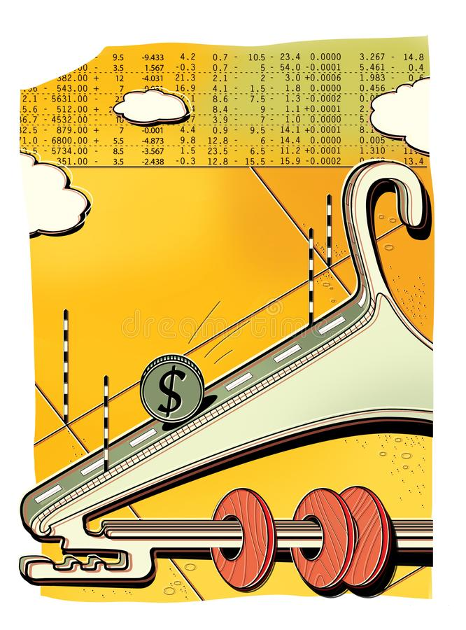 Palancada del intercambio Ratio de palancada Suspensión de ropa como cuentas viejas Bolsa de acción Cartas y tráfico de crecimien ilustración del vector