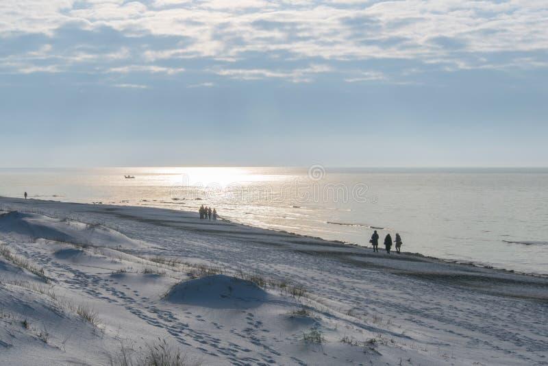 Palanga beach in winter stock images