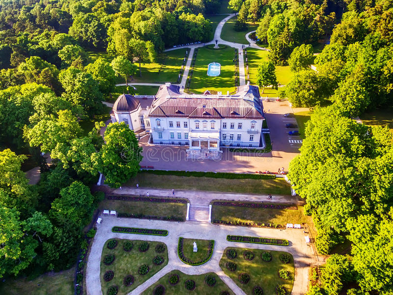 Palanga, Lithuania: aerial UAV view of Amber Museum in formerTiskeviciai, Tyszkevicz Palace surrounded by Palanga stock image