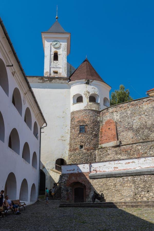 Palanok城堡 Mukacheve,喀尔巴汗 图库摄影