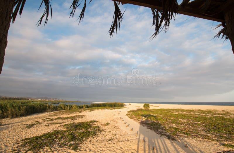 从Palapa/圣何塞台尔Cabo Lagoon/出海口风雨棚/小屋的看法自然保护在Cabo圣卢卡斯巴哈墨西哥北部 库存照片