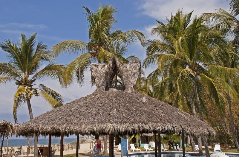Palapa de station de vacances avec des palmiers images stock