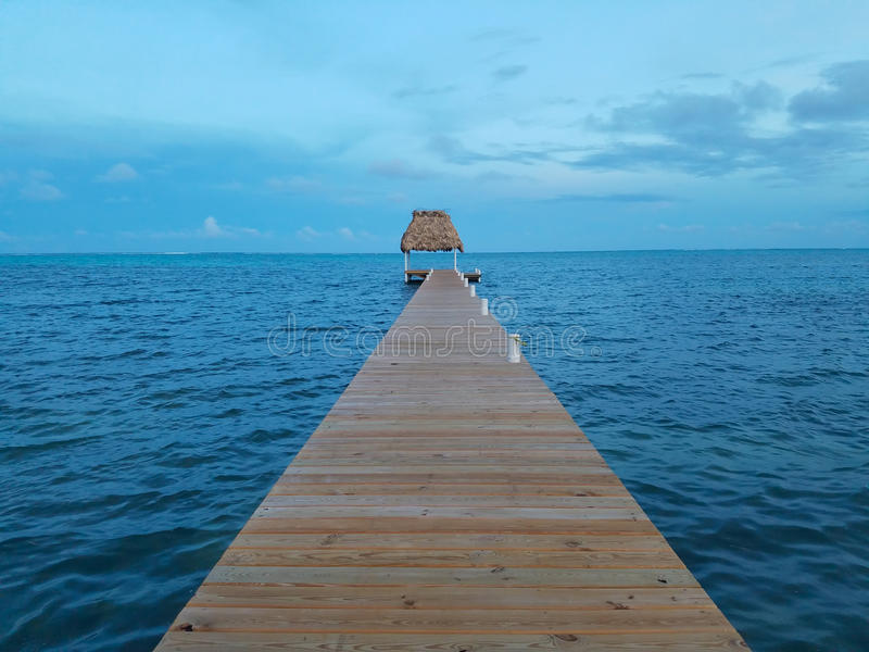 Palapa dock view Belize royalty free stock images